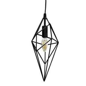 Dainolite  Pendant Light - 1-Light - 5-in x 14-in - Black