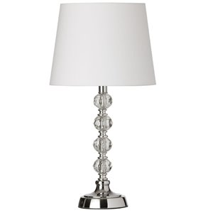 Dainolite Crystal Table Lamp - 1-Light - 17.5-in - Polished Chrome