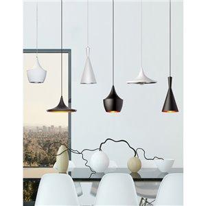 Dainolite Helsinki Pendant Light - 1-Light - 14-in x 7-in - Matte White