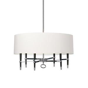 Dainolite Langford Pendant Light - 6-Light - 32-in x 17-in - Chrome/White