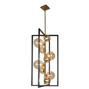 Dainolite Glasglow Pendant Light - 9-Light - 15.75-in x 29.5-in - Matte Black/Vintage Bronze