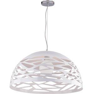 Dainolite Coral Pendant Light - 1-Light - 20-in x 10.75-in - Matte White