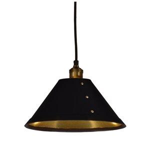 Dainolite Fayette Pendant Light - 1-Light - 12-in x 8-in - Black/Gold