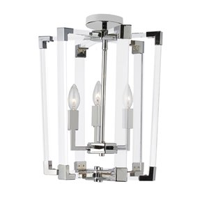 Dainolite Artico Pendant Light - 3-Light - 14-in x 17-in - Polished Chrome