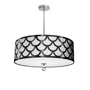 Dainolite Hannah Pendant Light - 4-Light - 24-in x 8-in - Black/White