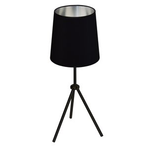 Dainolite Oversized Drum Table Lamp - 1-Light - 28.5-in - Matte Black/silver