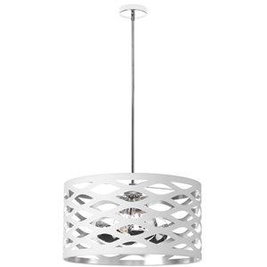Dainolite Cutouts Pendant Light - 4-Light - 22-in x 12-in - White/Silver