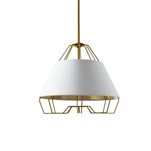 Dainolite Rockwell Pendant Light - 1-Light - 15-in x 12.5-in - White/Gold