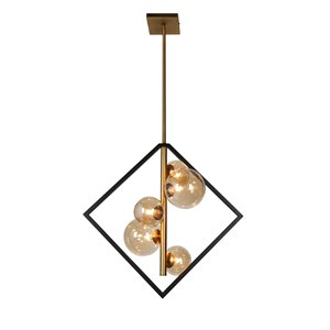 Dainolite Glasglow Pendant Light - 5-Light - 21-in x 20.5-in - Matte Black/Vintage Bronze