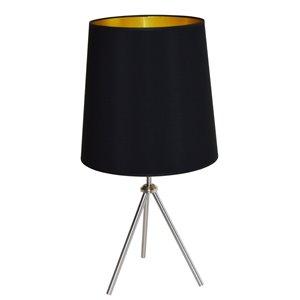 Dainolite Oversized Drum Table Lamp - 1-Light - 30-in - Satin Chrome/Black