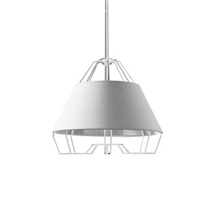 Dainolite Rockwell Pendant Light - 1-Light - 15-in x 12.5-in - White/Silver