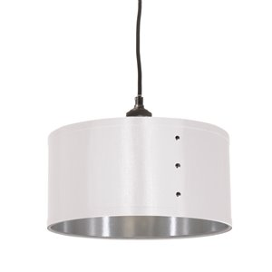 Dainolite Fayette Pendant Light - 1-Light - 12-in x 8.5-in - White/Silver