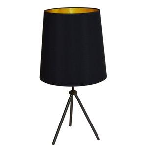 Dainolite Oversized Drum Table Lamp - 1-Light - 30-in - Matte Black/Gold