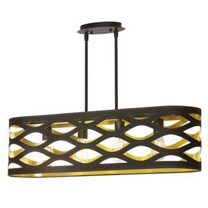 Dainolite Cutouts Pendant Light - 4-Light - 33-in x 9-in - Black/Gold