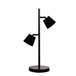 Dainolite Modern Table Lamp - 2-LED Light - 20.5-in - Matte Black