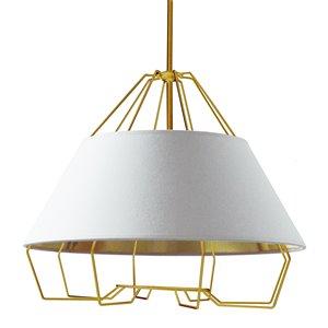 Dainolite Rockwell Pendant Light - 4-Light - 24-in x 20-in - White/Gold