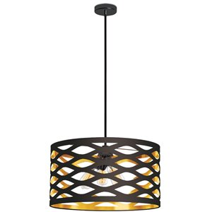Dainolite Cutouts Pendant Light - 4-Light - 22-in x 12-in - Black/Gold