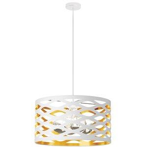 Dainolite Cutouts Pendant Light - 4-Light - 22-in x 12-in - Matte White/Gold