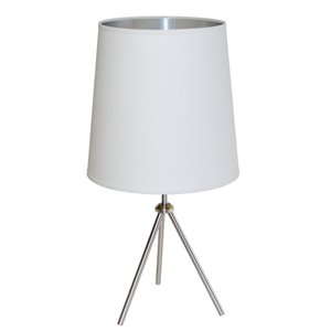 Dainolite Oversized Drum Table Lamp - 1-Light - 30-in - Satin Chrome/White