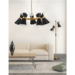 Dainolite Cameron Pendant Light - 5-Light - 25-in x 8-in - Black/Vintage Bronze