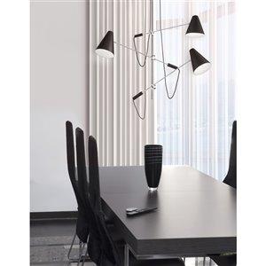 Dainolite Mid Century Modern Pendant Light - 3-Light - 54-in x 20-in - Polished Chrome