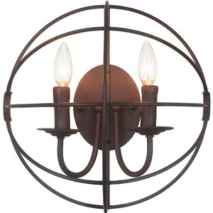 CWI Lighting Arza 2 Light Wall Sconce - Brown finish - 14-in x 14-in x 8-in