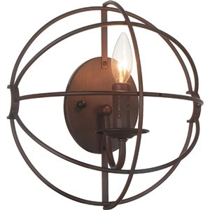 CWI Lighting Arza 1 Light Wall Sconce - Brown finish - 12-in x 12-in x 6-in