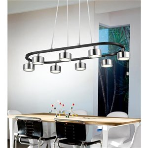 CWI Lighting Trail LED Down Pendant - Black & Chrome finish - 30-in