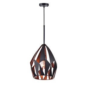 CWI Lighting Oxide 1 Light Down Pendant - Black and Copper Finish - 12-in