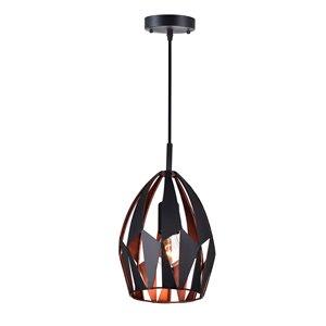 CWI Lighting Oxide 1 Light Down Mini Pendant - Black and Copper Finish  - 8-in