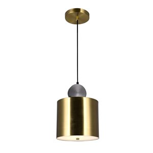 CWI Lighting Saleen LED Mini Pendant - Brass and Black Finish - 9-in