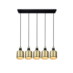 CWI Lighting Forate 5 Light Pool Table Light - Pearl Gold Finish - 8-in x 33-in