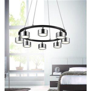 CWI Lighting Trail LED Down Pendant - Black & Chrome finish - 20-in