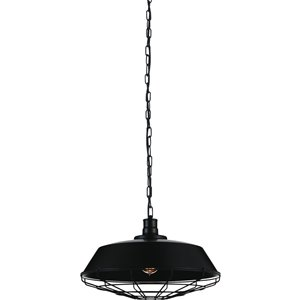 CWI Lighting Morgan 1 Light Down Pendant - Black finish - 18-in