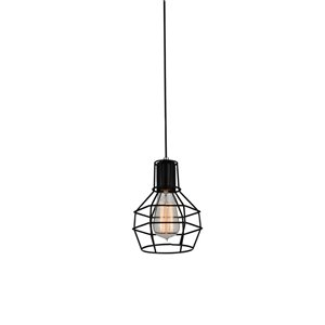 CWI Lighting Secure 1 Light Down Mini Pendant - Black finish - 6-in