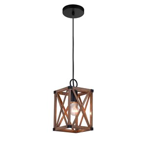 CWI Lighting Marina 1 Light Pendant - Wood Grain Brown Finish - 6-in