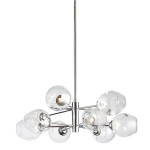 Dainolite Abii Pendant Light - 8-Light - 26-in x 10-in - Polished Chrome/Glass