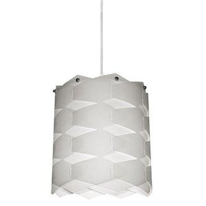 Dainolite Puzzle Pendant Light - 1-Light - 8-in x 9-in - White