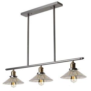 Dainolite Signature Pendant Light - 3-Light - 34-in x 6-in - Vintage Steel/Glass