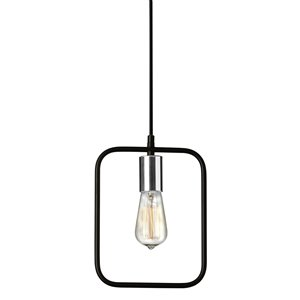 Dainolite Geometric Pendant Light - 1-Light - 9.75-in x 12.75-in - Black