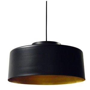 Dainolite Kup Pendant Light - 1-Light - 19.7-in x 10.5-in - Black/Gold