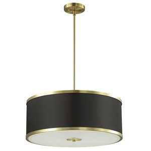 Dainolite Zuri Pendant Light - 4-Light - 20-in x 8.5-in - Aged Brass/Black