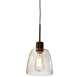 Dainolite Nostalgia Pendant Light - 1-Light - 7-in x 6-in - Oil Brushed Bronze/Glass