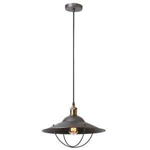 Dainolite Signature Pendant Light - 1-Light - 15-in x 9-in - Vintage Steel