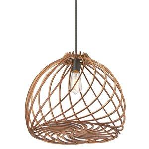 Dainolite Lilian Pendant Light - 1-Light - 17-in x 12-in - Wood