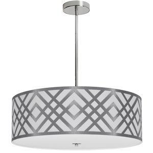 Dainolite Mona Pendant Light - 4-Light - 24-in x 8-in - Silver/White