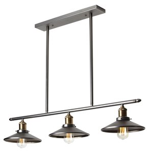 Dainolite Signature Pendant Light - 3-Light - 34-in x 6-in - Vintage Steel