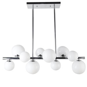 Dainolite Glasgow Pendant Light - 10-Light - 31-in x 11-in - Polished Chrome/Frosted Glass