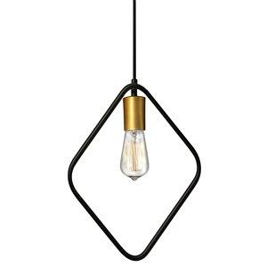 Dainolite Geometric Pendant Light - 1-Light - 12.5-in x 17-in - Gold/Black