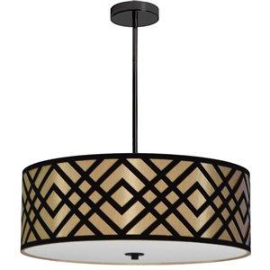 Dainolite Mona Pendant Light - 4-Light - 24-in x 8-in - Gold/Black
